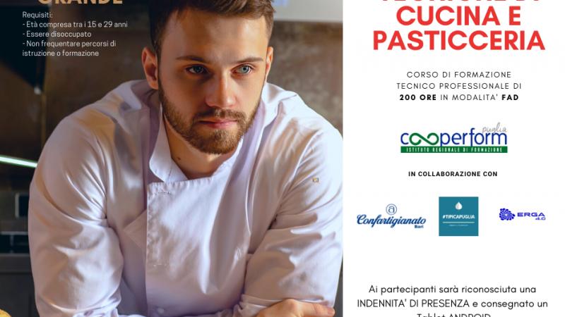 """""""Tecniche di cucina e pasticceria"""", un corso finanziato dalla Regione Puglia e organizzato da Cooperform con la collaborazione di Tipica Puglia e Erga 4.0"""
